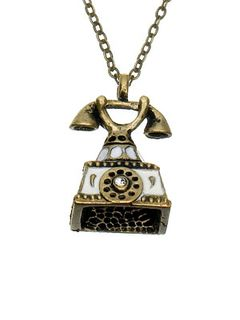 Antique telephone pendant necklace